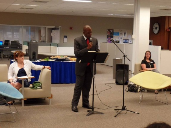 Maurice Ruffin reads at a One Book One New Orleans event at Dillard University (photo: Malik Bartholomew)