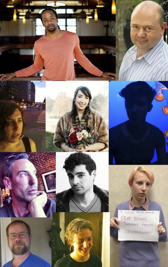 The evening's presenters, clockwise spiral, from top left: Jericho Brown, Brad Richard, Liana Roux, Foster Noone, Ellen Goldstein, Ken Pobo, Eddie Outlaw, Elizabeth Gross, Hannah Riddle, and Laurence Ross.