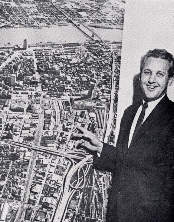 """Moon Landrieu gives a presentation advocating for the construction of the Superdome in 1968 (photo source). """"Construction of a multi-purpose domed stadium may be bold but not unrealistic. Such a facility is an investment that will mean additional income for everyone in the city and state,"""" he said."""