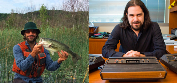 OL editors Christopher Schaberg (left, with bass) and Ian Bogost (right, with antiquarian video game consoles)